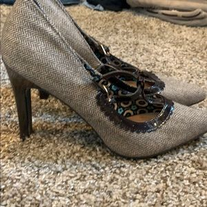 Herringbone t-strap heels